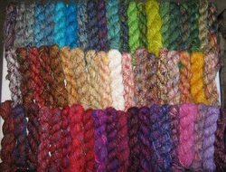 recycled silk and recycled silk and banana fibre yarns